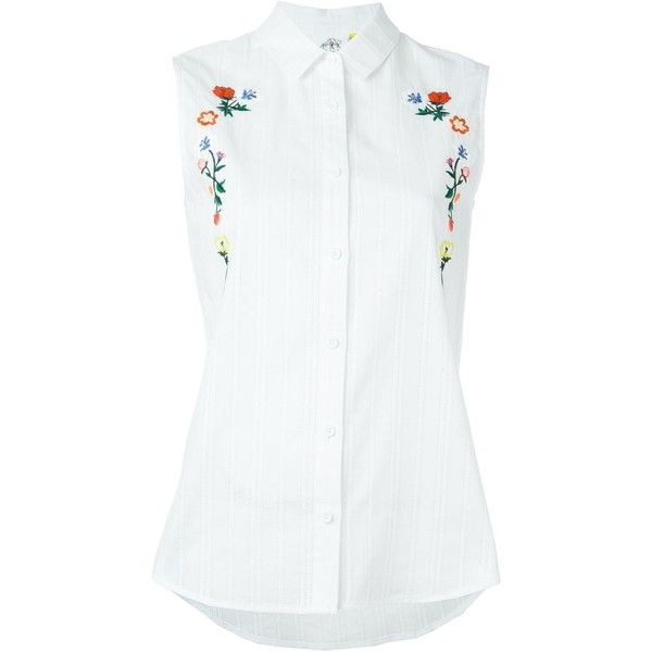 Steve J & Yoni P Floral Embroidery Sleeveless Shirt ($192) ❤ liked on Polyvore featuring tops, white, shirt tops, white shirt, cotton sleeveless shirts, no sleeve shirt and cotton sleeveless tops