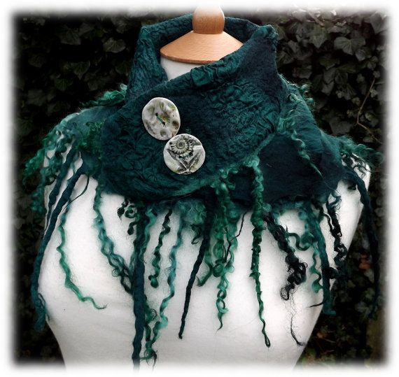 Mermaid Cowl  rustic cowl nuno  felted scarf by folkowl on Etsy, Xmas gift from my own dearie! lucky me x