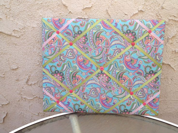Whimsical, Colorful, Fun, Paisley Memo Board, Vision Board, French Memory Board, Organize Pictures, Jewelry, Pin Pics, Tuck keepsakes notes. by FurnitureRescueLA on Etsy