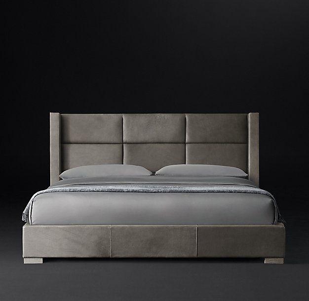 Rectangular Channel Shelter Leather Platform Bed