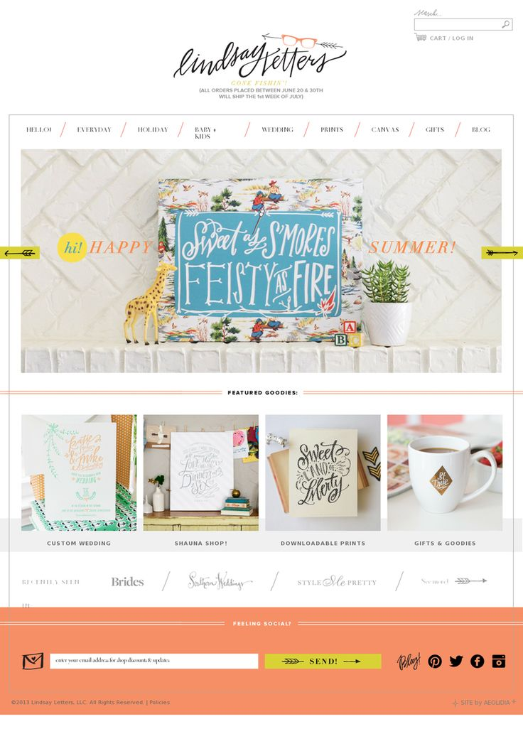 The layout may be a little to square/clean/typical for my taste... what I do like is the message over the main photo, that's a cute element- and overall it does look 'fresh' so I like that as well. It's just lacking the whimsy and quirk I'm after