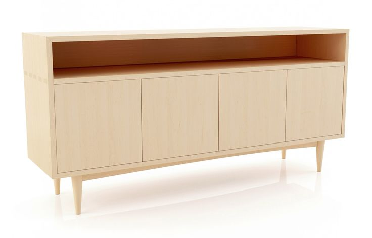 Domestic hardwood is used to make the Atten Credenza. Solid construction with attractive joinery on the ends makes this a beautiful and stylish piece to include in the living room furniture of any home. Stem uses a modern touch and push technology for ease of open and closing the four doors. The classic style of this modern piece is made with multiple options. This custom credenza will fit beautifully in any home and any room where extra storage space and display area is needed.