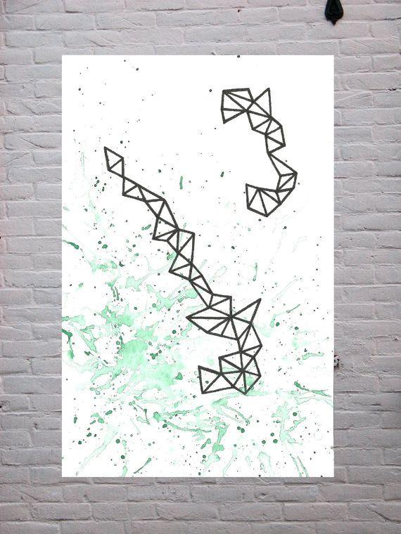 Original Watercolor Painting  Geometric Lines & by TheWaterShop, $30.00