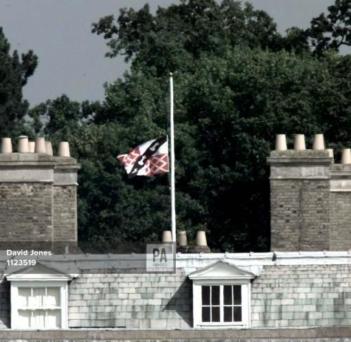 aug 31,1998--The family flag flies at half mast at Princess Diana's family home Althorp House today (Monday) the first anniversary of her deathAlthorp flag