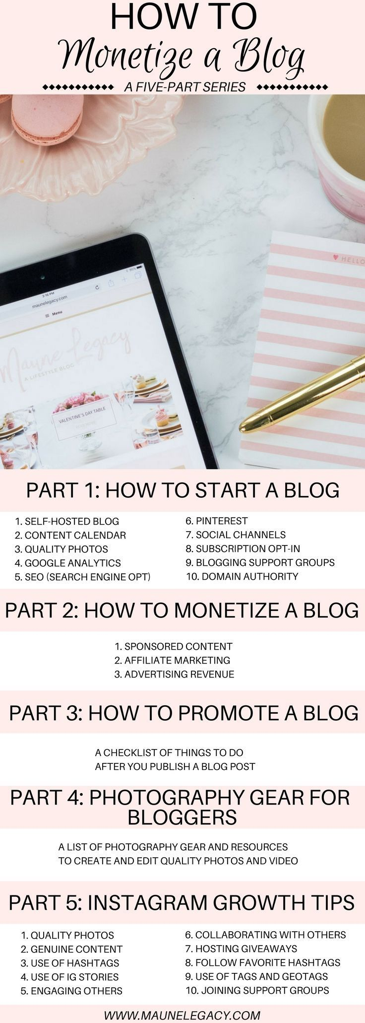 This five-part series on how to monetize a blog includes 3 action steps for earning through your blog including sponsored content, affiliate marketing, and advertising.