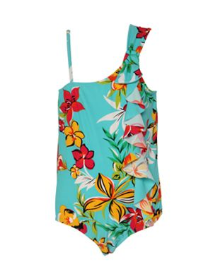 -Aqua Lagoon – Angel Swimsuit $39.95 - An aqua print with pops of fluoro pink, yellow and orange Hawaiian flowers - Ruffle down the side front - 1 shoulder design with bow Tight fit - Nylon lycra with UPF 50+ - Sizes 1,2,4,6  - www.heavenleeswim.com