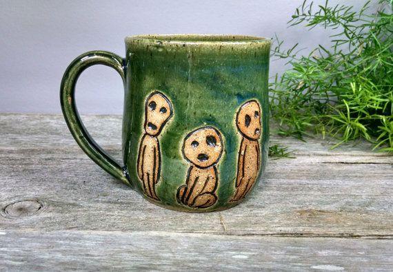 16 oz Dark Green Kodoma Mug - Wheel Thrown Hand Carved Studio Ghibli Coffee Cup