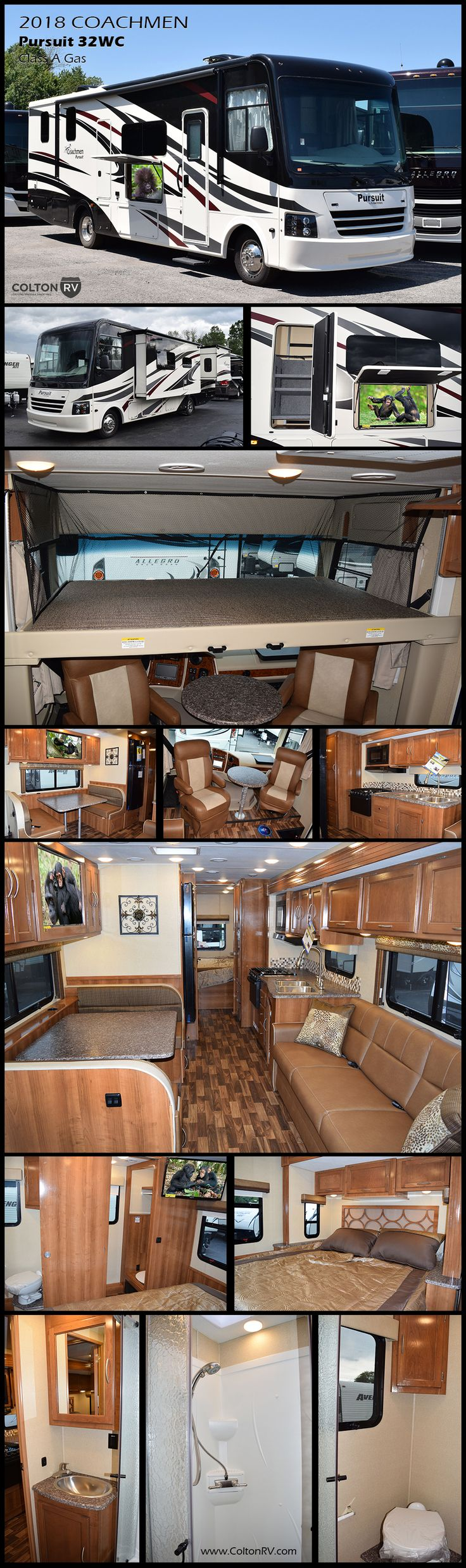 "You will enjoy the journey when you have this much comfort surrounding you. This 2018 Coachmen Pursuit 32WC Class A Gas Coach offers you a spacious interior with creature comforts just like home so you can explore until your heart's content. You will find a Mega-booth dinette, a 40"" LED TV, a convenient drop-down bunk, a complete bath and much more!"