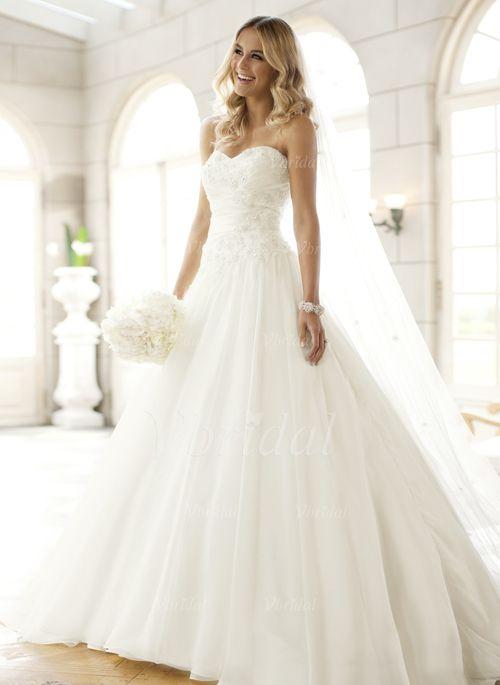 Bröllopsklänningar - $190.97 - A-linjeformat Axelbandslös Hjärtformad Court släp Tyll Bröllopsklänning med Rufsar Pärlbrodering (0025063143)