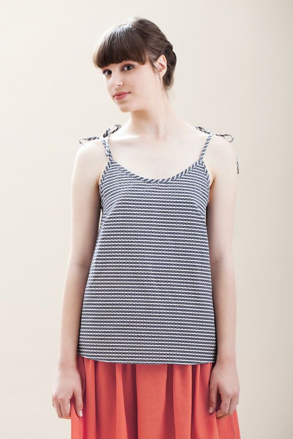 Valentine's day Sale Striped top polka dot top Womens by ilovemona, $39.00
