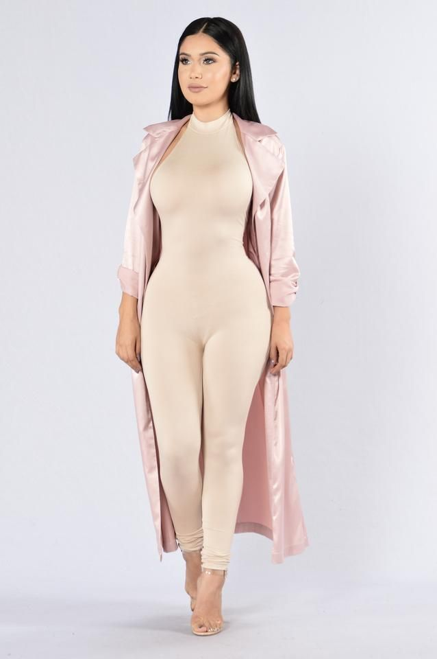 - Available in Mauve, Khaki and Olive - Duster - Satin Material - Long Ankle Length - Belt Tie - Open Front - Tie Up 3/4 Sleeve - 97% Polyester 33% Spandex