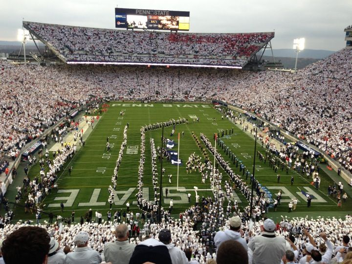Beaver Stadium has an official seating capacity of 106,572, aka the second largest stadium in the Western Hemisphere and the third largest in the world.  http://skicks.com/blogs/recent-articles