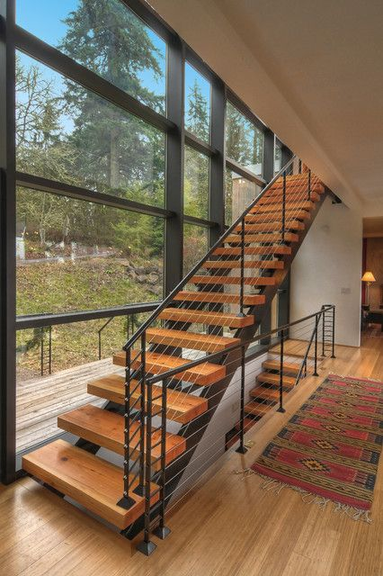 Staircase Black Stringer Cable Rail Large Windows