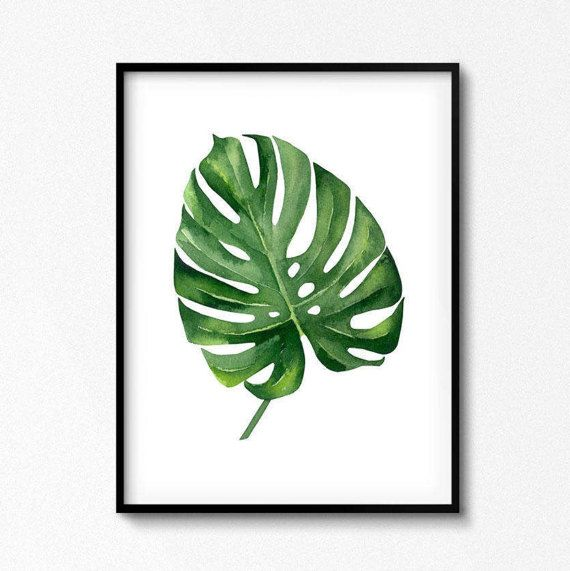 Tropische Print, Blatt-Dekor, grünes Blatt, grün Dekor, im freien Kunst, Natur, Tropen, grüne Kunst, Aquarell Set, Monstera Poster, verlässt Kunst.