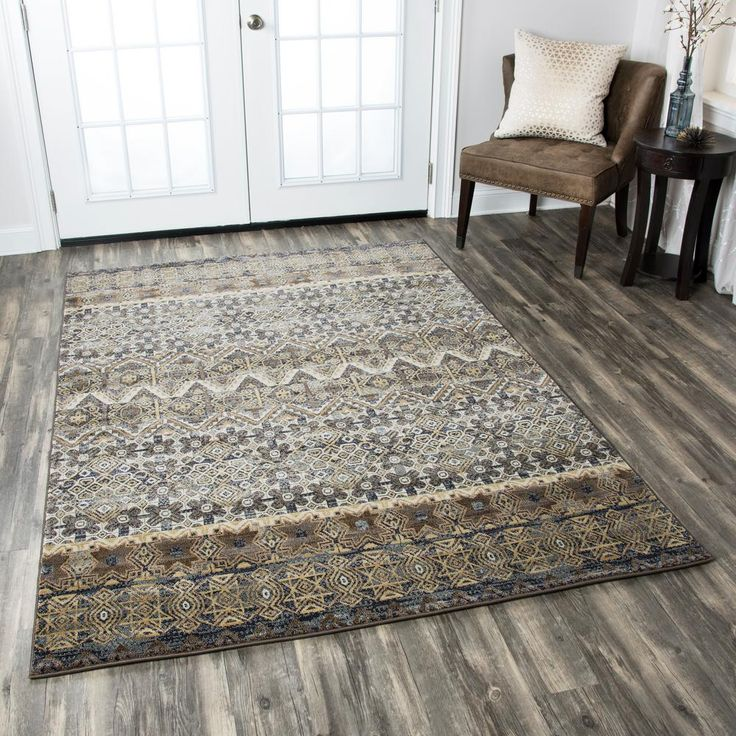 Rizzy Home Bennington Multicolor 7 ft. 10 in. x 7 ft. 10 in. Round Area Rug