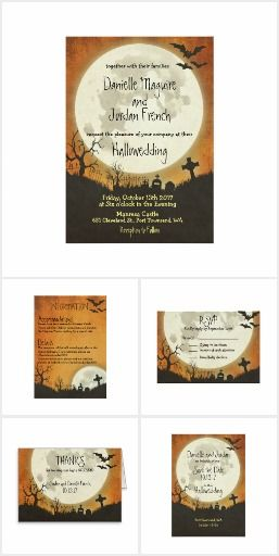 158 best wedding printable images on pinterest wedding printable halloween wedding invitation collection with full moon bats and graveyard over an orange night sky perfect for your hallowedding stopboris Gallery