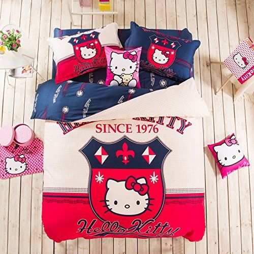 USpiece Children 100% Cotton Home Textile, Lovely H Kitty Z Cute Cartoon Kids Bedding Set //Price: $83.29 & FREE Shipping //     #hashtag4