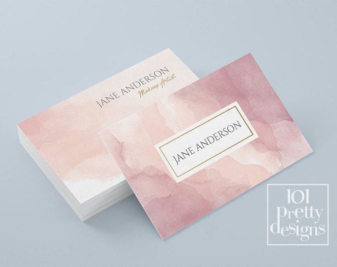 Watercolor business card template pastel printable business card design gold and pink business cards custom busienss card gold pink makeup #businesscards