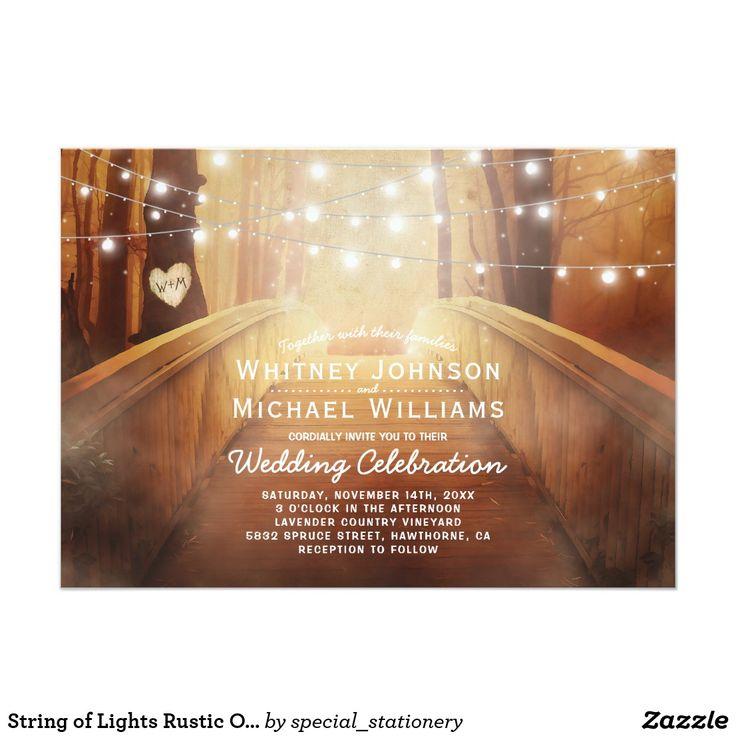 String of Lights Rustic Outdoor Woodland Wedding Invitations #rusticwedding
