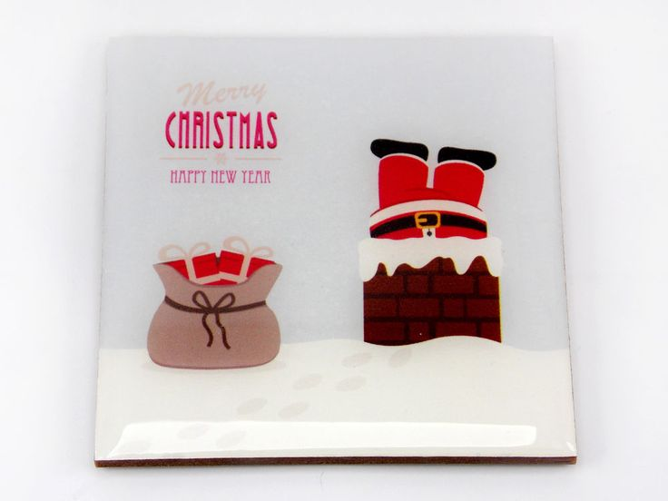 Santa Claus Chimney Funny Christmas Drink Coaster Unique Gift MDF Wood by Osarix