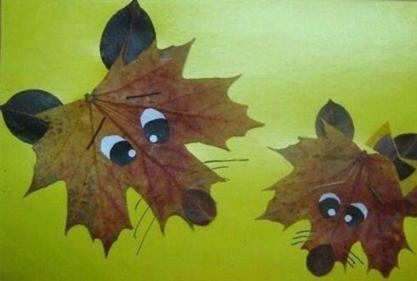 DIY für Kinder: Collage von Tieren in trockenen Blättern – Dekoration