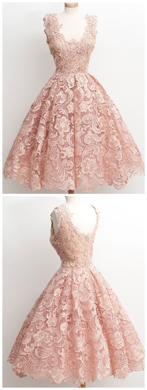 Custom Made Gorgeous Lace Prom Dress,Tea Length Evening Dress, Pink Homecoming D…