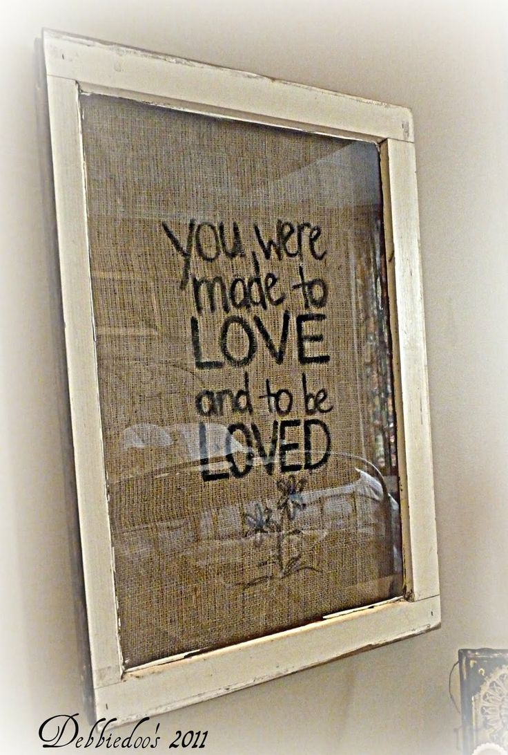 Burlap picture frame {You were made to love} - This blog has a TON of DIY stuff!
