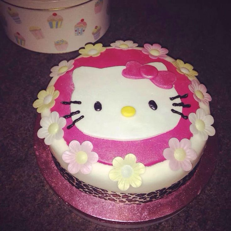 Hello Kitty cake for little girls birthday - vanilla sponge with homemade strawberry jam and vanilla buttercream