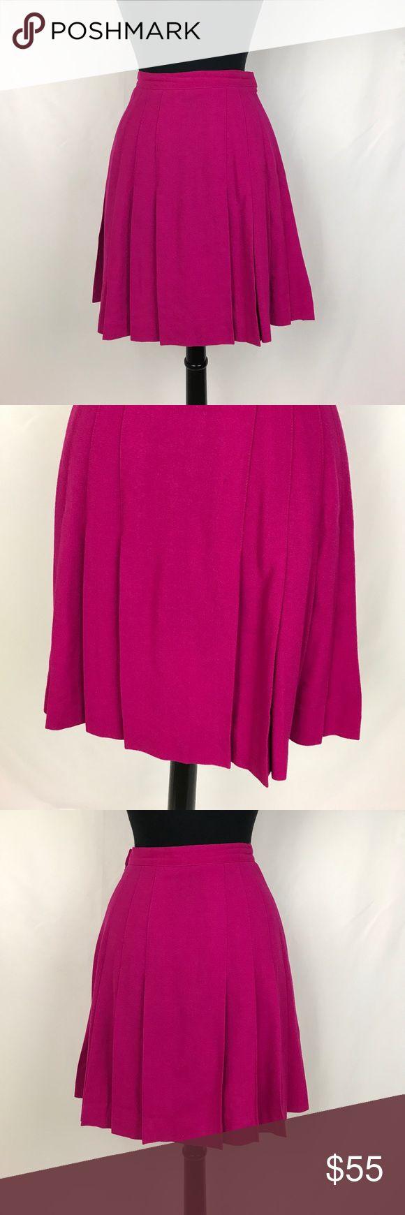 "Dana Brooke • Vintage Magenta Pleated Wool Skirt PreLoved • 13.25"" waist • 20"" length Dana Brooke Skirts"