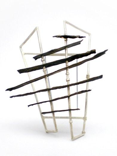 Rhona McCallum, Panel Brooch, 2011. White Metal, Brass, Steel. 72x66x30mm