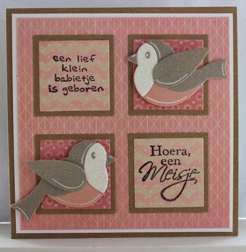 Babykaart peach and mint, met vogeltjes #hoera een meisje