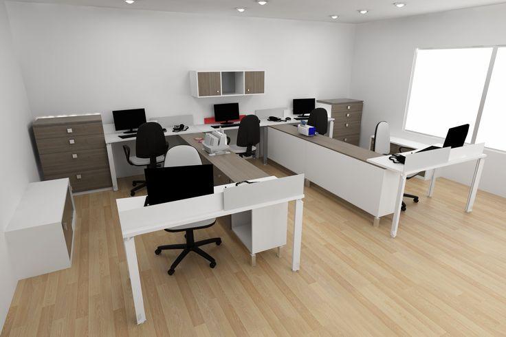 Estaciones rectas y gabinetes en una disposición diferente de los escritorios