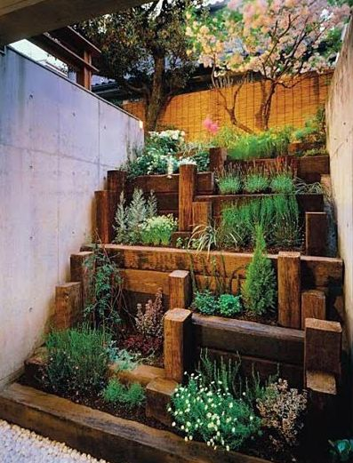 Small space garden. @Nicole Novembrino Sullivan I thought of your future terraced garden when I saw this!