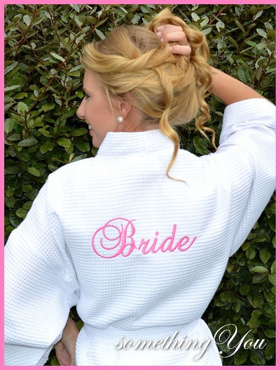 "Wedding Day ""Bride"" Back Embroidered Robe - Custom Bridal Shower Gift Elegant Script Personalized Make Up Robe Makeup Robe on Etsy, $34.95"