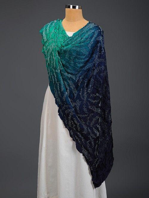 Green-Blue Bandhani Gajji Silk Dupatta