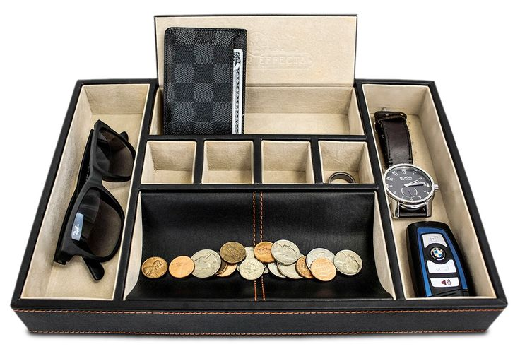 Best Mens Valet Tray Organizer For Dresser Top - Deluxe Leather Storage Box Great Watch Box Or Jewelry Box For Men or Women
