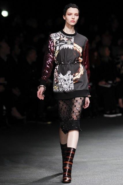 Great layering and skirt at Givenchy PFW