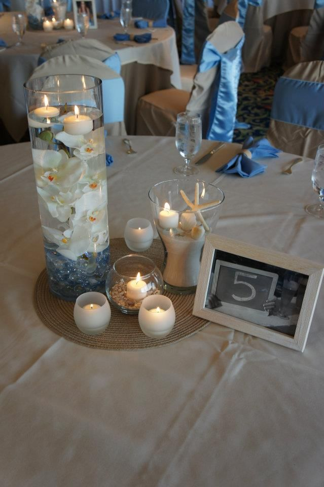 Non floral centerpiece beach themed wedding simply