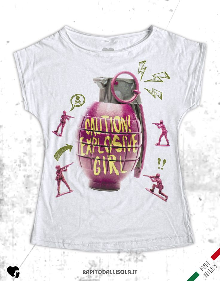 Explosive Girl. T-shirt in cotone fiammato. 100% made in Italy www.rapitodallisola.it