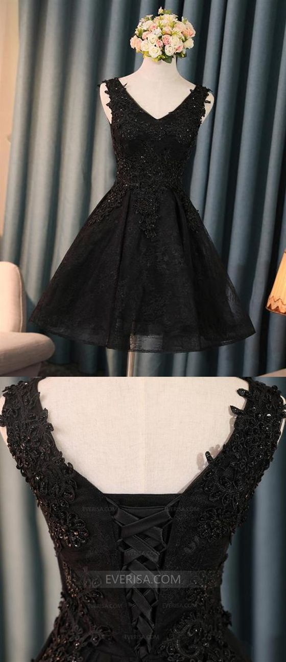 e8bb3a560df0 Black V Neck Sleeveless Lace Appliques A Line Short Homecoming Dresses  #ALINE #Homecoming #short #dresses #lace