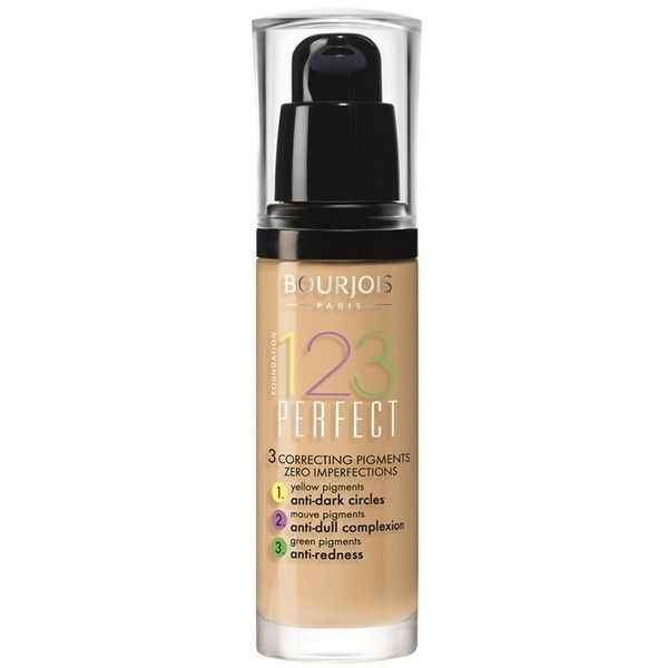 Bourjois 123 Perfect Foundation ($17) ❤ liked on Polyvore featuring beauty products, makeup, face makeup, foundation, beauty, beige, moisturizing foundation, matte foundation, bourjois foundation and matte finish foundation