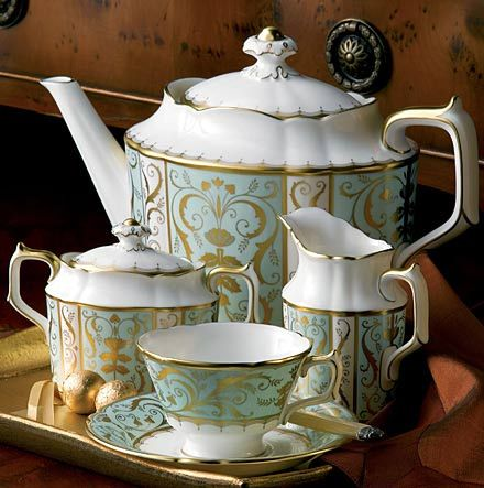 Mint Green Tea Set by Royal Crown Derby. This set is featured in Mr. Selfridge and I'm completely in love with it!