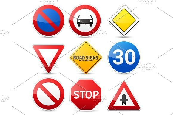 Road signs collection isolated on white background. Road traffic control.Lane usage.Stop and yield. Regulatory signs.. Travel Infographics