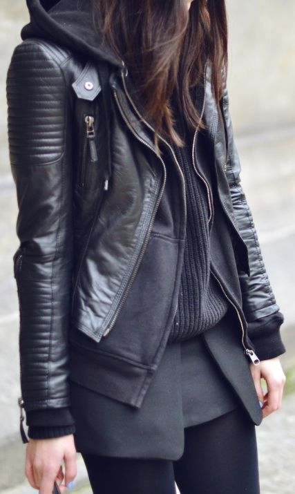 Black on black #fall #fashion #street #style #black #leather #layered