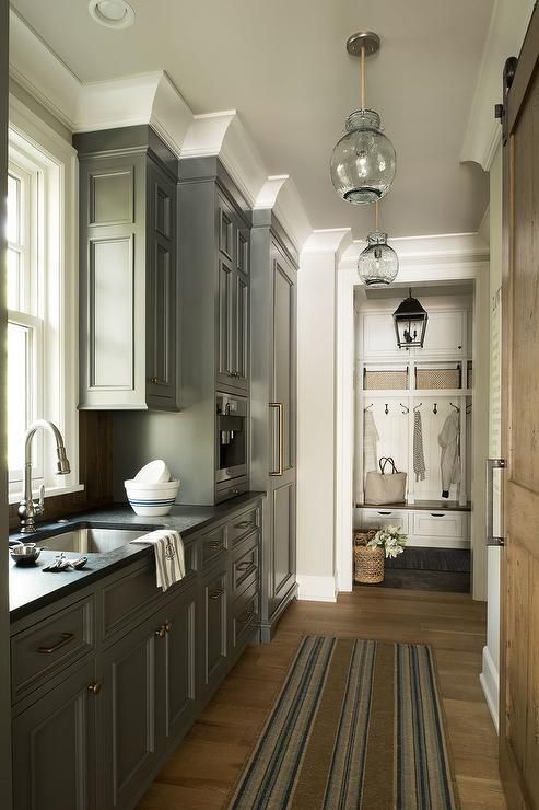Charcoal Gray Pantry Cabinets with Brass Hardware ...