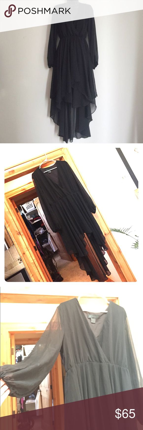 Black chiffon dress Kardashian Kollection Black Chiffon dress with solid black underline. Sheer sleeves, short in front, long in back, deep v plunge neck, VERY COMFORTABLE. Size XL (I wear 14/16). Worn a handful of times, no rips, snags or sign of wear. Kardashian Kollection Dresses Long Sleeve
