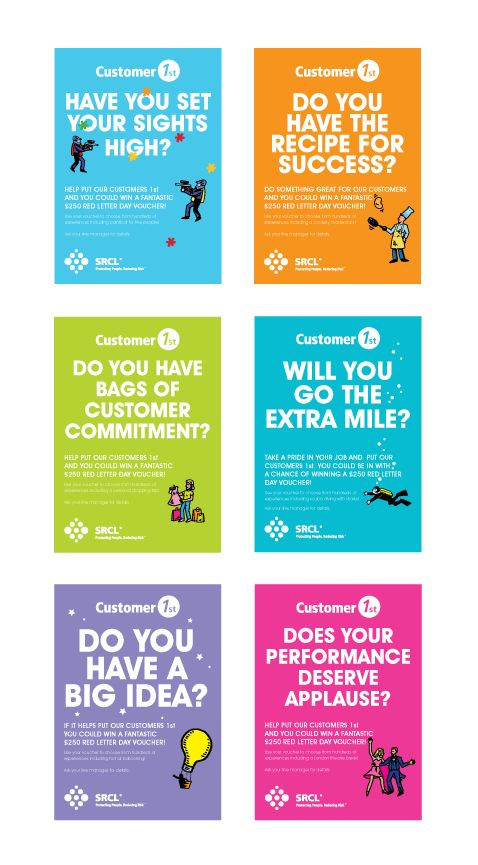 srcl a series of staff incentive posters promoting the company reward scheme aimed at improving