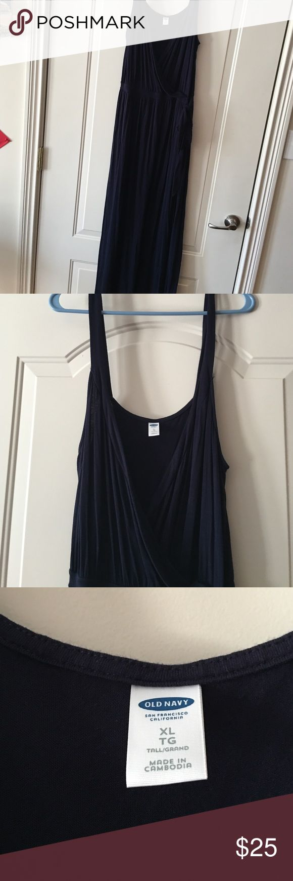 Navy blue extra long maxi dress Long navy blue maxi dress.   Never wore.   Was to long for me. Old Navy Dresses Maxi