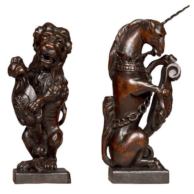 Exceptional pair of charles ii heraldic newel post