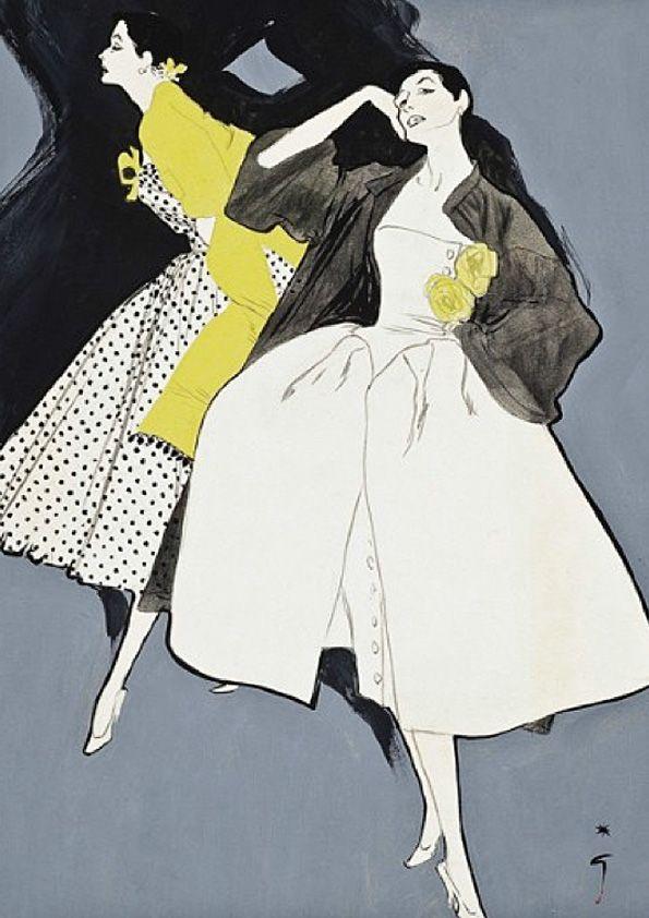 René Gruau illustration for Pierre Balmain. @Deidra Brocké Wallace,  LOVE!!